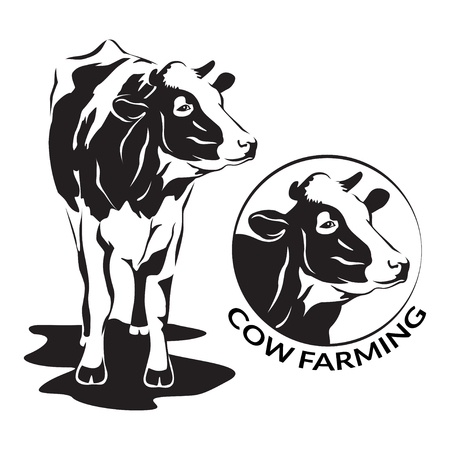 Cow stylized symbol and cow head portrait. Silhouette of farm animal, cattle. Emblem, logo or label for design. Vector illustration