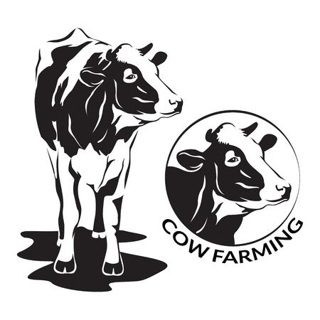 Krowa stylizowany symbol i portret głowa krowy. Sylwetka zwierząt gospodarskich, bydła. Godło, logo lub etykieta do projektu. Ilustracji wektorowych