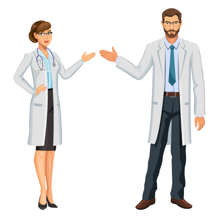 Medical team. Two doctors, man and woman with stethoscope, gesturing. Healthcare and medical concept. Vector Illustration