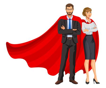 Superhelden Mann und Frau in roten Umhängen, Team von Superhelden, Geschäftsleute Superhelden. Bärtiger Kerl und schönes Mädchen in Gläsern. Erfolgskonzept.