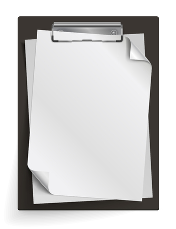 Realistic clipboard with a few blank white sheets of paper. Template or mock up for text and design. Empty paper notes, top view. Vector illustration
