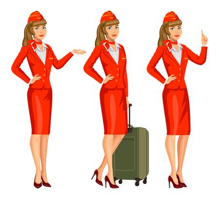 Azafata en uniforme rojo. Auxiliares de vuelo, azafata. Profesión azafata, personaje de dibujos animados. Ilustración vectorial