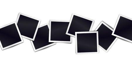Composición de marcos de fotos negros realistas sobre fondo claro. Maquetas de diseño. Ilustración vectorial