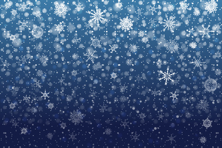 Christmas snow. Falling snowflakes on deep blue background. Snowfall. Vector illustration, eps 10