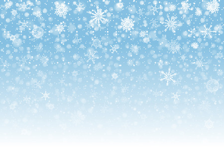 Christmas snow. Falling snowflakes on light background. Snowfall. Vector illustration, eps 10