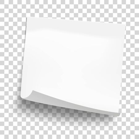 White sheet of note paper isolated on transparent background. Sticky note. Mockup of white note paper. Vector illustration