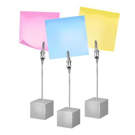 Three color notes on a metal memo holders clips. Notes on wire silver clamps with place for you text over white background. Office supplies. Vector illustration Illusztráció