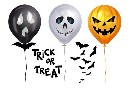Halloween Balloons. Balloon like pumpkins Jack-o-lantern, bats and text Trick or Treat. Scary air balloons. Holidays, decoration and party concept balloons for halloween over white background. Vector illustration. EPS10 Иллюстрация