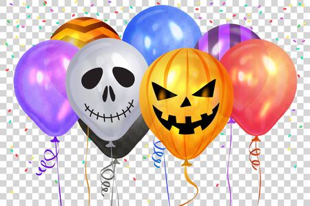 Halloween Balloons. Ghost, Pumpkin, Skeleton  and colorful confetti. Scary air balloons. Holidays, decoration and party concept balloons for halloween over black background. Vector illustration. EPS10 Фото со стока - 132111606