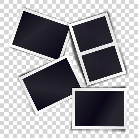 Composition of four blank vintage photo frames on transparent background. Template for design. Vector illustration