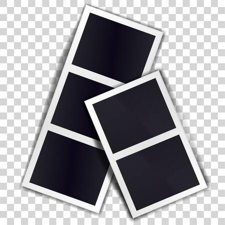 Composition of two stripe blank vintage photo frames on transparent background. Template for design. Vector illustration Иллюстрация