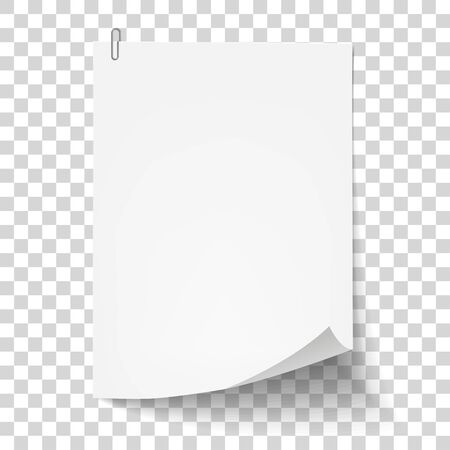 White sheet of paper with metal paper clip. Metal paper clip attached to paper. Vector illustration