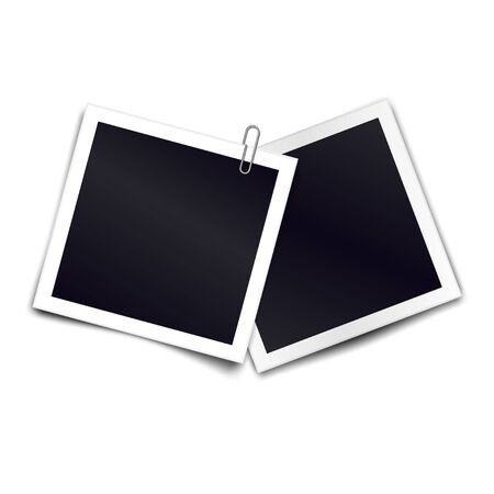 Photo frames with metal paper clip. Metal paper clip attached to two retro photorealistic photo frames on white background. Template for design. Vector illustration