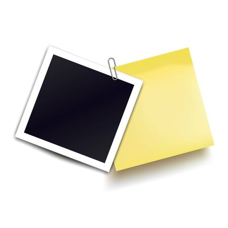 Photo frame and yellow sticky note attached metal paper clip. Metal paper clip attached to retro photorealistic photo frame. Template for design. Vector illustration