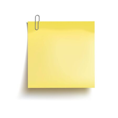 Yellow sticky note attached metal paper clip. Template for design. Vector illustration