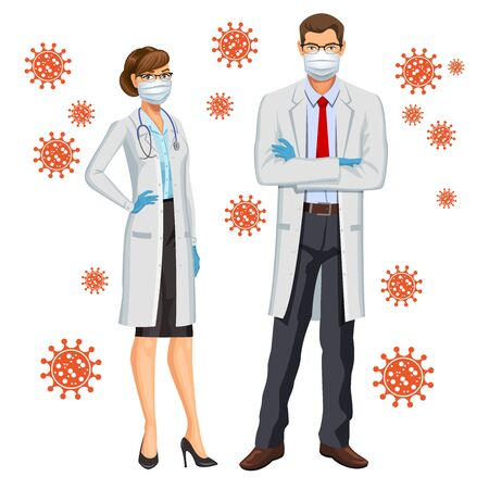 Female and male doctors wearing scrubs, gloves and mask. Doctors or nurses with protective face masks, corona virus concept. Vector illustration