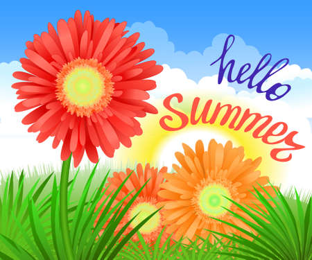 Hello Summer Lettering and Realistic Gerbera Flowers. Summer background design for your holiday poster, banner, headline text. Vector Illustration