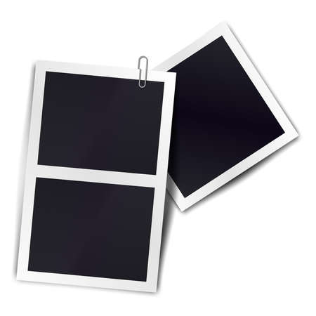 Composition of two stripe blank vintage photo frames on transparent background. Template for design. Vector illustration
