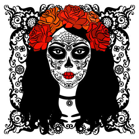 Sugar Skull Girl. Day Of Dead, Traditional Mexican Halloween, Dia De Los Muertos. Woman with makeup sugar skull with roses flowers wreath. Vector illustration