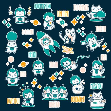 Big Set Cute cartoon Cat Astronaut. Vector illustration. Friendly postcard. sticker/