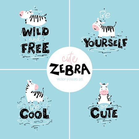 Cute nursery posters set with zebras. Wild animals with different characters and lettering. Flat isolated cartoon vector illustration in scandinavian style