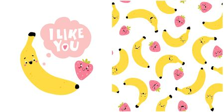 Banana Strawberry Greeting Card with the words I Like You. Creative seamless pattern. Funny characters with happy faces. Cartoon vector illustration in simple hand drawn scandinavian style Stockfoto - 149395658