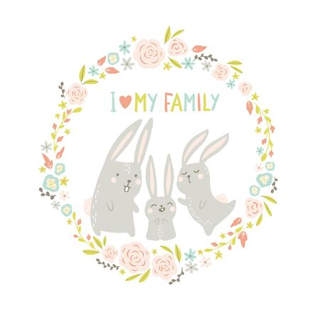 Rabbits in a round floral frame. Cute animals in hand-drawn scandinavian style. Childish cartoon in pastel colors. I love my family. Ideal for postcard, poster.