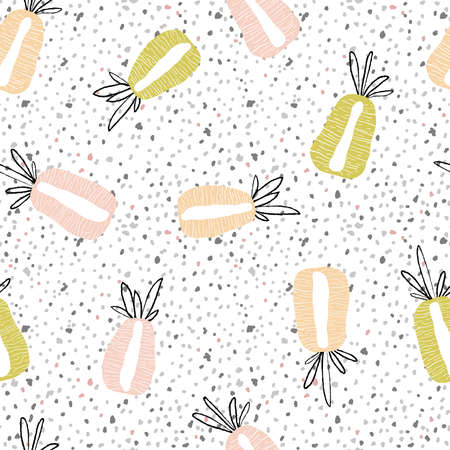 Modern exotic pattern with pineapple sliced along the marble. Colorful, minimalistic tropical background. Ideal for textiles, fabrics, printing, packaging. Illusztráció