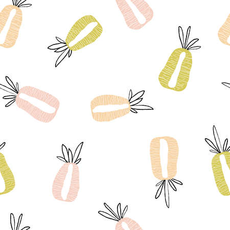 Modern exotic pattern with pineapple cut along. Colorful, minimalistic tropical background. Ideal for textiles, fabrics, printing, packaging.