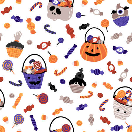 Halloween baby buckets with sweets seamless pattern. Vector illustration of candy in a simple hand-drawn style. The limited palette is ideal for fabric printing, packaging. White background Vectores