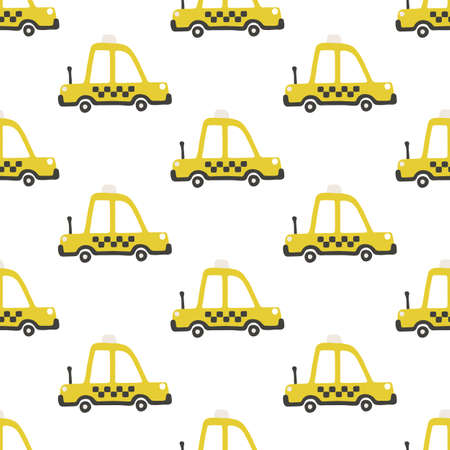 Yellow taxi car seamless pattern. Vector childish illustration in scandinavian simple hand-drawn style. The limited palette is ideal for printing on baby clothes, digital paper Ilustracje wektorowe