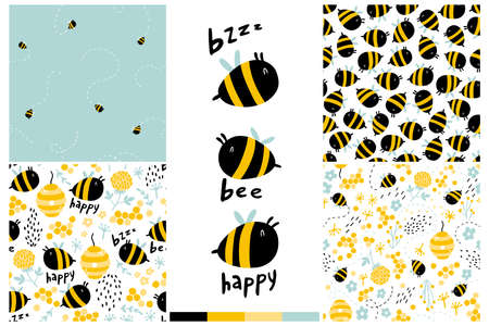 Bees seamless pattern set. Cartoon childish hand-drawn illustration with funny letters, words. Colorful doodle in a limited palette for printing baby fabrics, packaging, wallpapers.