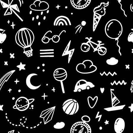 Doodle sketch boy monochrome seamless pattern. Cute childish hand-drawn illustrations in a simple style. ideal for modern prints, baby textiles, fabrics, wallpapers, packaging