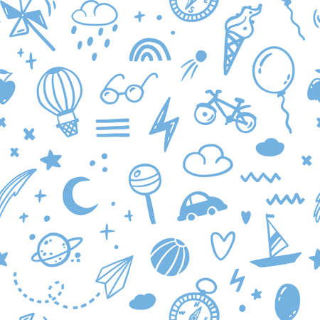 Doodle sketch boy seamless blue pattern. Cute childish hand-drawn illustrations in a simple style. ideal for modern prints, baby textiles, fabrics, wallpapers, packaging