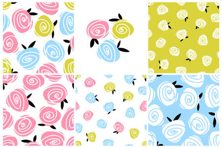 Set of roses seamless pattern. Colorful flowers. Simple vector hand drawn botanical illustrations in scandinavian style. Ideal for printing on textiles, baby clothing, wallpaper, packaging, and more