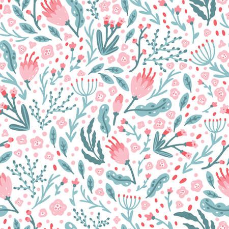 Cute floral pattern of small flowers in pastel colors. Ditsy print. Hand-drawn illustrations in a simple Scandinavian style. Ideal for printing textiles, baby clothes, fabrics, wallpapers  イラスト・ベクター素材