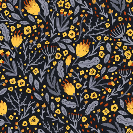 Cute floral pattern of small yellow flowers on a dark background. Ditsy print. Hand-drawn illustrations in a simple Scandinavian style. Ideal for printing textiles, baby clothes, fabrics, wallpapers