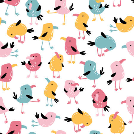Tropical funny birds seamless pattern. Vector colorful parrots in simple flat hand-drawn cartoon style. Perfect for baby textile, clothing, wallpaper, packaging, etc. 矢量图像