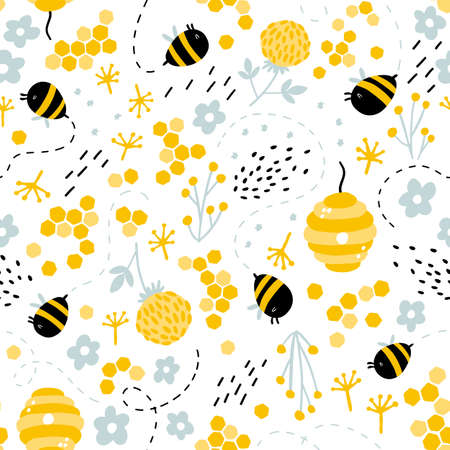 Funny bees and beehive in herbs and flowers seamless pattern. Vector naive characters in scandinavian hand-drawn cartoon style. Ideal for childrens textiles, clothing, wallpaper, packaging
