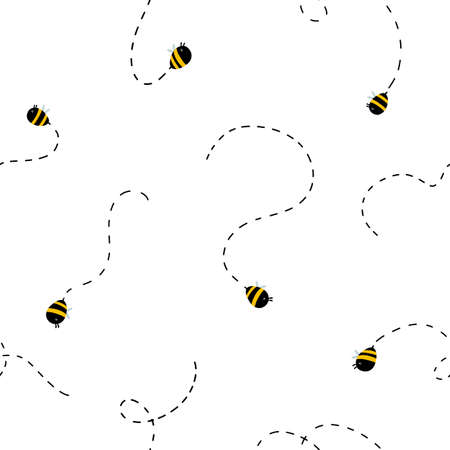 Funny bees seamless pattern. Vector naive characters in scandinavian hand-drawn cartoon style. Perfect for baby textile, clothing, wallpaper, packaging, etc. Иллюстрация
