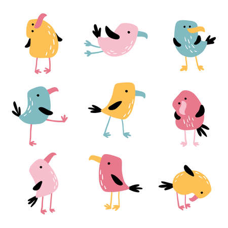 Tropical funny birds. Vector colorful parrots in simple flat hand-drawn cartoon style. Colorful isolate characters on a white background.