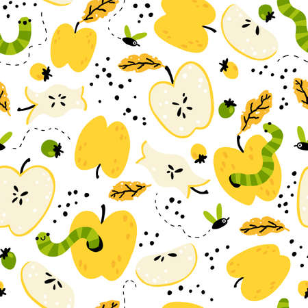 Organic waste. Seamless pattern with worms, flies, fruits, berries. Natural colorful composting in a simple cartoon hand-drawn background. Funny illustration.