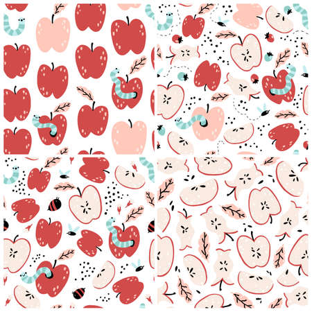 Apple Seamless patterns set with worms, bees, fruits. Natural summer colorful background in simple cartoon hand-drawn style. Funny illustration