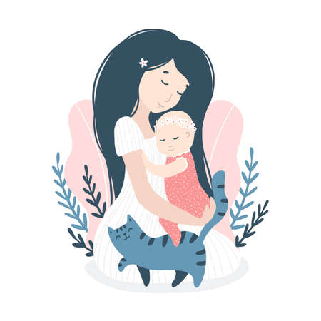 Hugging mom with a baby daughter with a cat in summer flowers, daisies. Cute cartoon childish illustration in simple hand-drawn style in a pastel palette