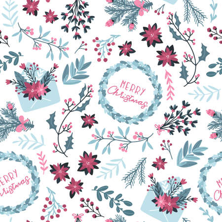 Christmas winter floral seamless pattern. Vector illustration with mail envelope and festive wreath with text in a hand-drawn style. Pastel palette is ideal for printing packaging, fabrics, textiles