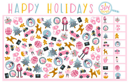 Christmas spy game. Find and write down how much. Board game for child development. Fun holidays. Vector hand-drawn cartoon illustrations in simple style. Pink palette.