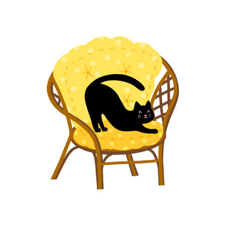 A funny black cat stretches on a garden chair. Summer concept, vector illustration in simple hand drawn childish cartoon style. Isolate on a white background.