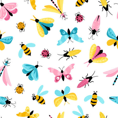Insects seamless pattern. Colorful hand-drawn butterflies, dragonfly and beetles in a simple childish cartoon style. Isolated over white background. Ideal for summer textiles, wrapping paper.