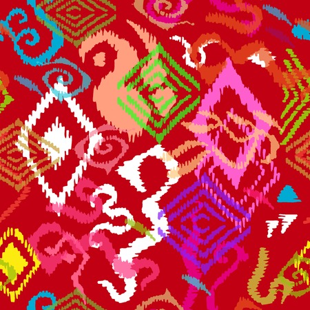 African, Arabic, Indian, Indonesian motifs. Ethnic textile collection. Illustration