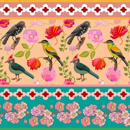 english textures: Blooming summer flowers, paradise birds and pine branches. Vintage textile collection.